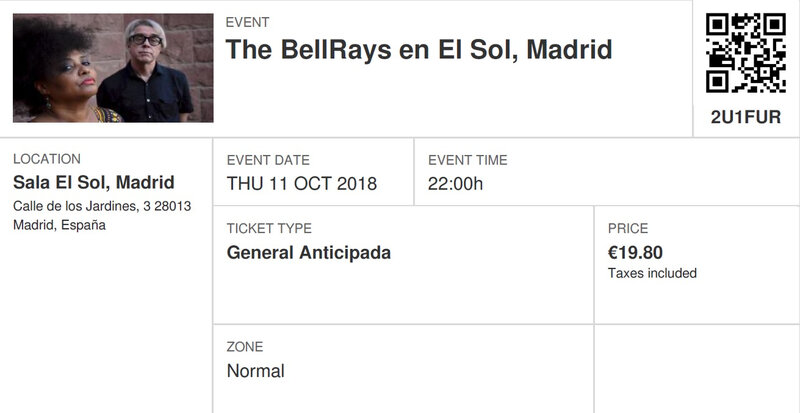 2018 10 11 The Bellrays Sala El Sol Madrid Billet