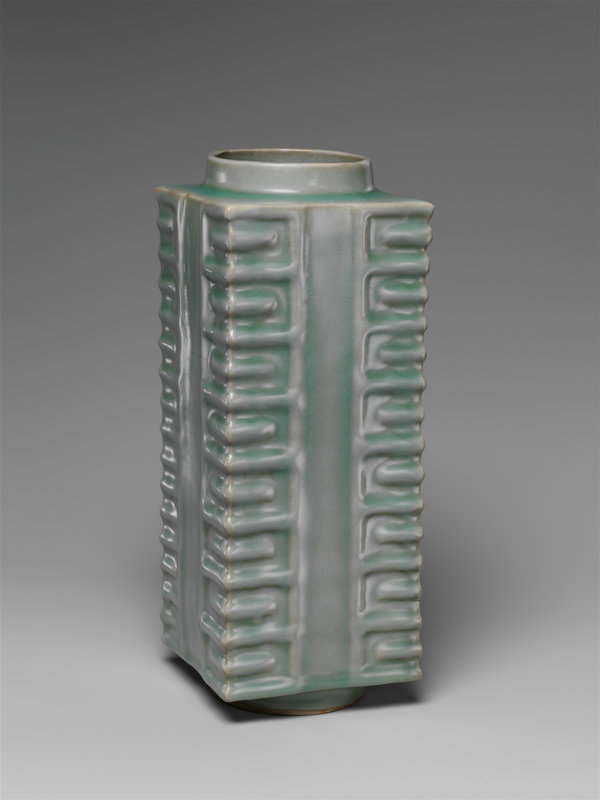 Quadrangular vase in the form of a Neolithic ritual jade object (cong), Southern Song dynasty (1127–1279), 13th century