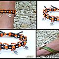 REF Pi 0009 bracelet noir orange fluo