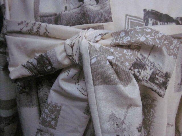 Ciré AGLAE en coton enduit écru impirmé cartes postales anciennes fermé par un noeud (4)