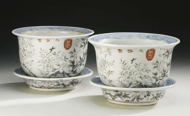Two Dayazhai grisaille-decorated jardinieres and underdishes, Qing dynasty, Tongzhi-Guangxu period