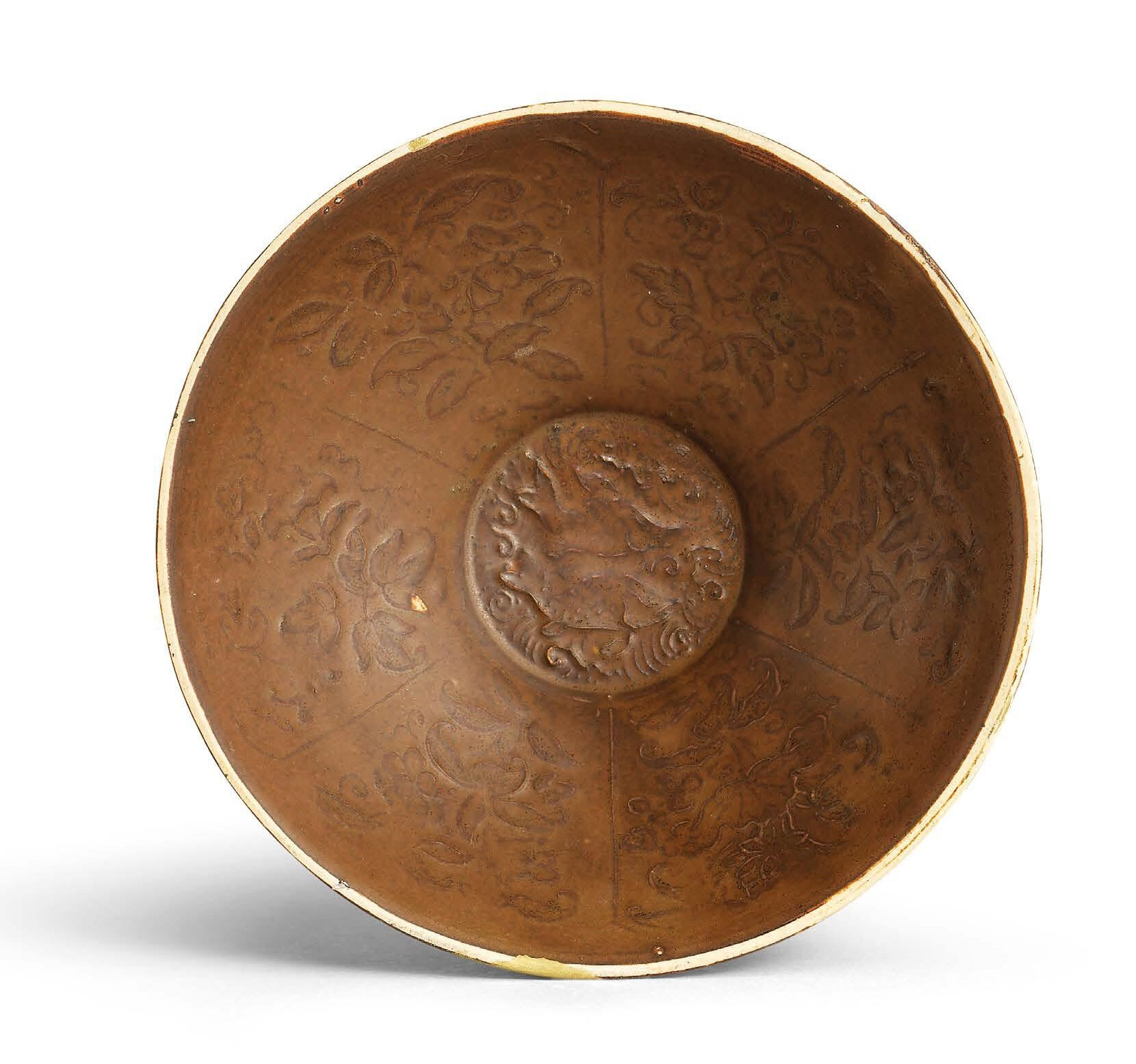 A Ding persimmon-glazed moulded bowl, Jin dynasty (960-1234)