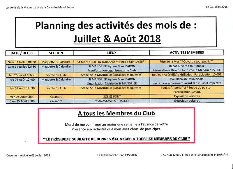 Planning Juillet et Août 2018