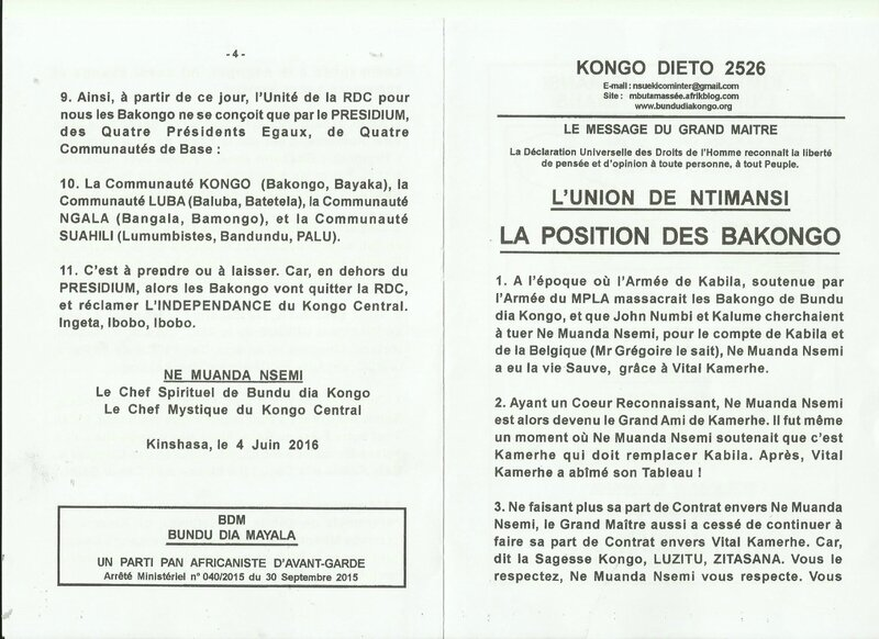 LA POSITION DES BENA KONGO a
