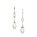 Natural pearl and diamond pendent earrings