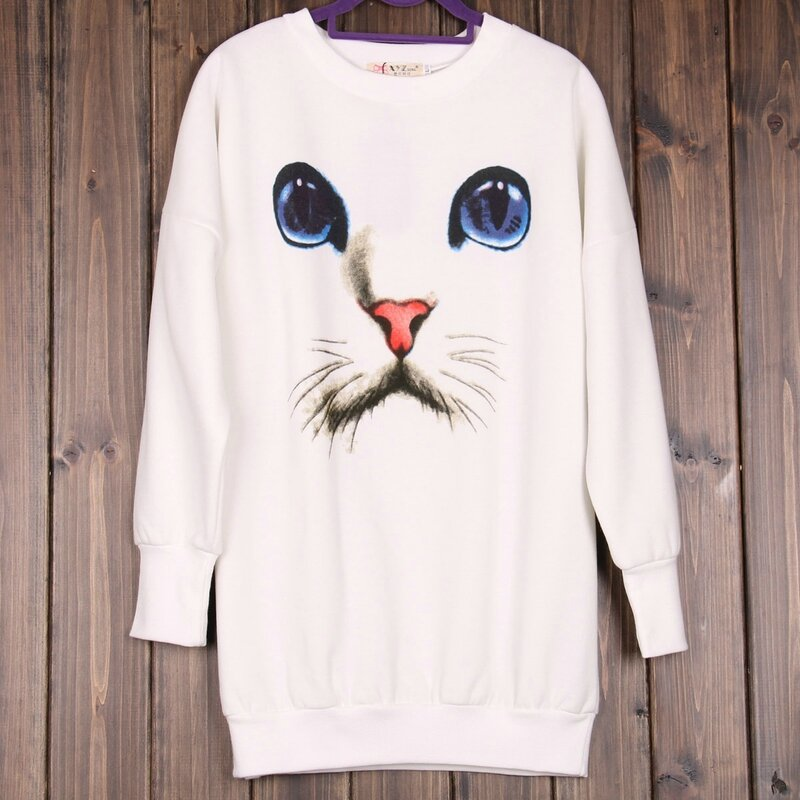 2013-pullover-knitted-sweatshirt-cat-print-slim-medium-long-hip-plus-size-sweatshirt-women-3d-cartoon