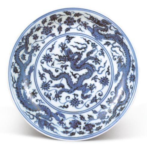 Blue and white 'dragon' dish, mark and period of Xuande © Collection of the National Palace Museum, Taipei