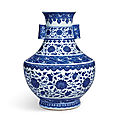 A rare blue and white 'floral' vase, hu, seal mark and period of qianlong (1736-1795)