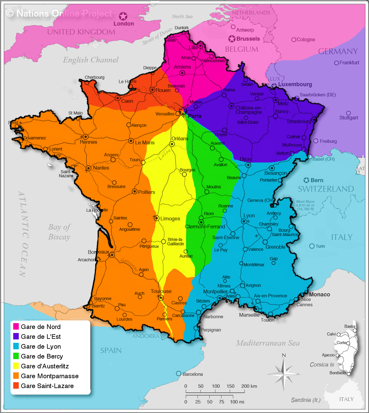 Areas served by Paris' major railway stations