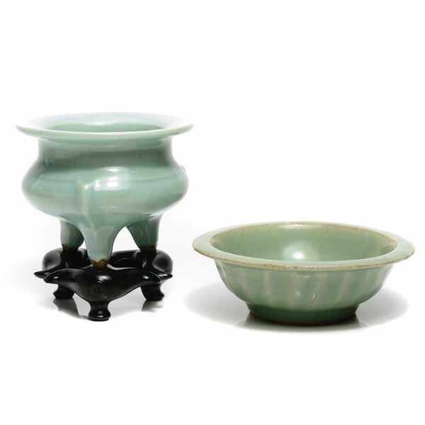 Two Celadon-Glazed Ceramics, Censer Song Dynasty