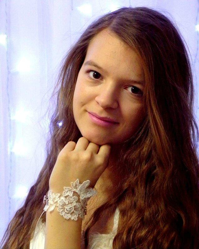 Bracelet ivoire dentelle mariage fait main