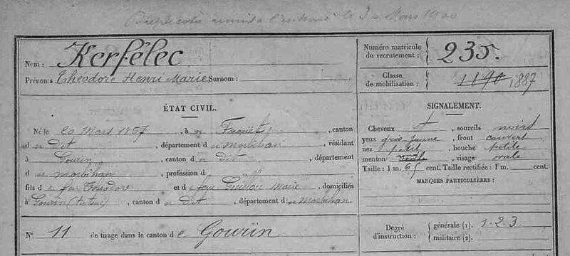 Matricule Théodore Henry Marie classe 1887_1