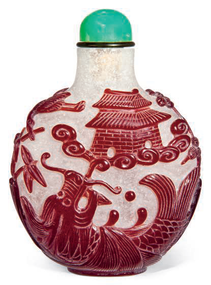 A red glass overlay 'snuff bottle, 19th-20th century