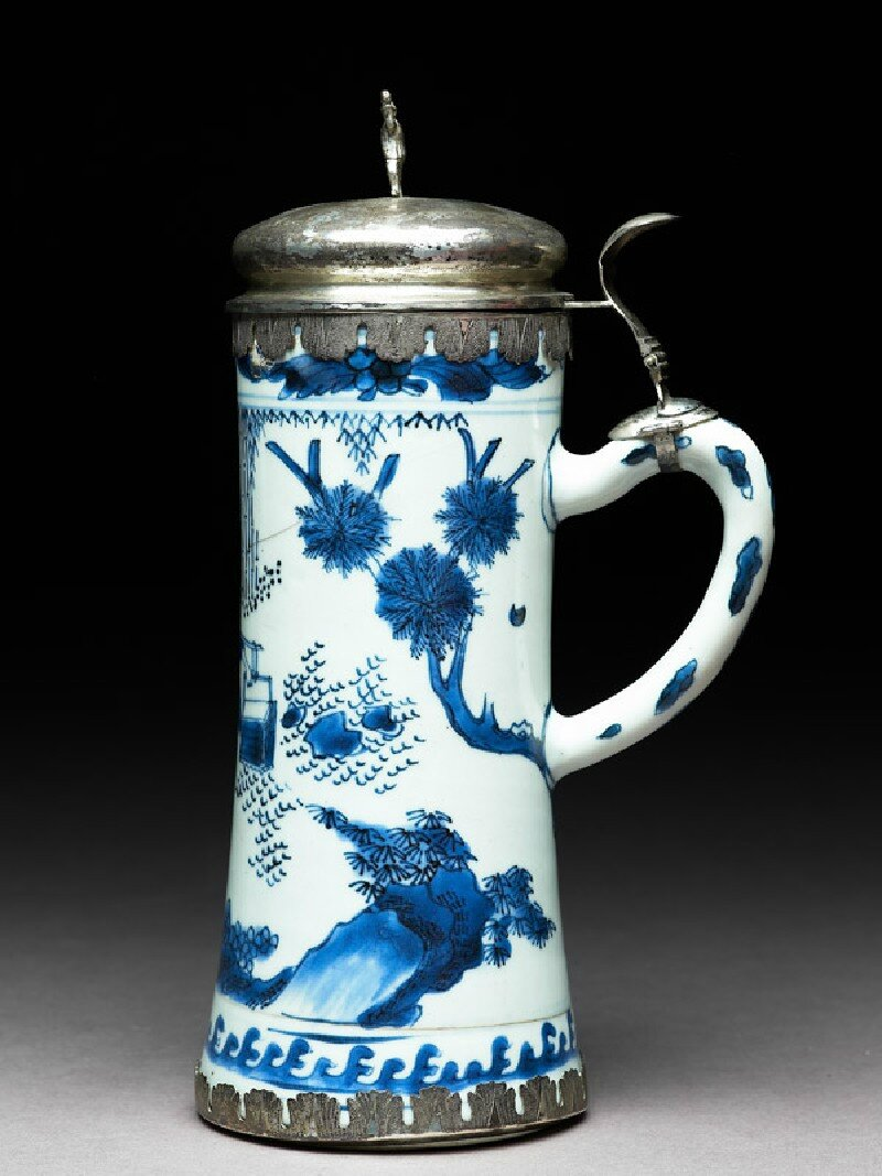 Blue-and-white tankard with European silver mounts, Ming Dynasty, Chongzhen Period (1628 - 1644)