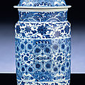 A fine ming-style blue and white cylindrical jar and cover, qianlong period (1736-1795)