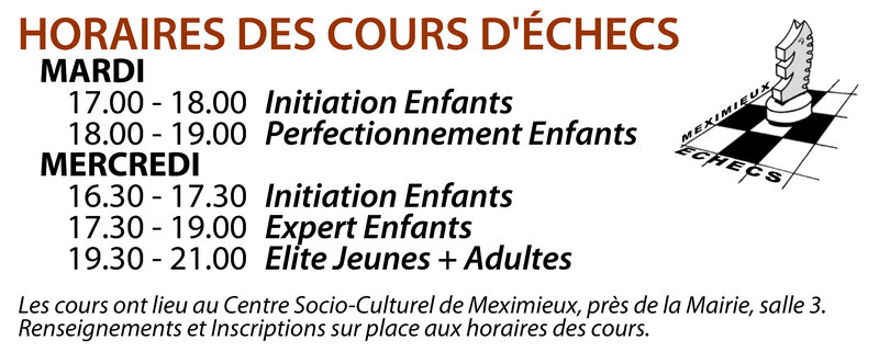 Horaires Cours 2019