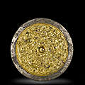 A rare gold overlay silvered bronze mirror, 9th-13th century