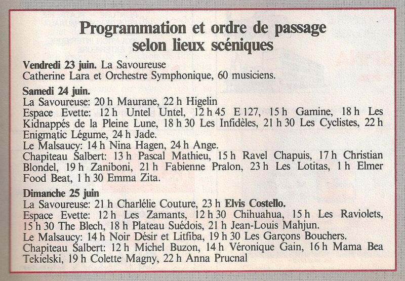 Magazine Territoire Article 4 Programme Eurockéennes 1987