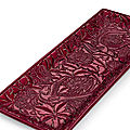 A superb and extremely rare carved red lacquer rectangular tray, yuan dynasty, first half 14th century
