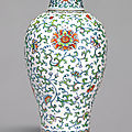 A rare large doucai ''floral' meiping and cover, qing dynasty, 18th century