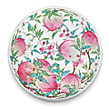 A superbly enamelled and possibly unique famille-rose 'peach' box and cover, mark and period of yongzheng (1723-1735)