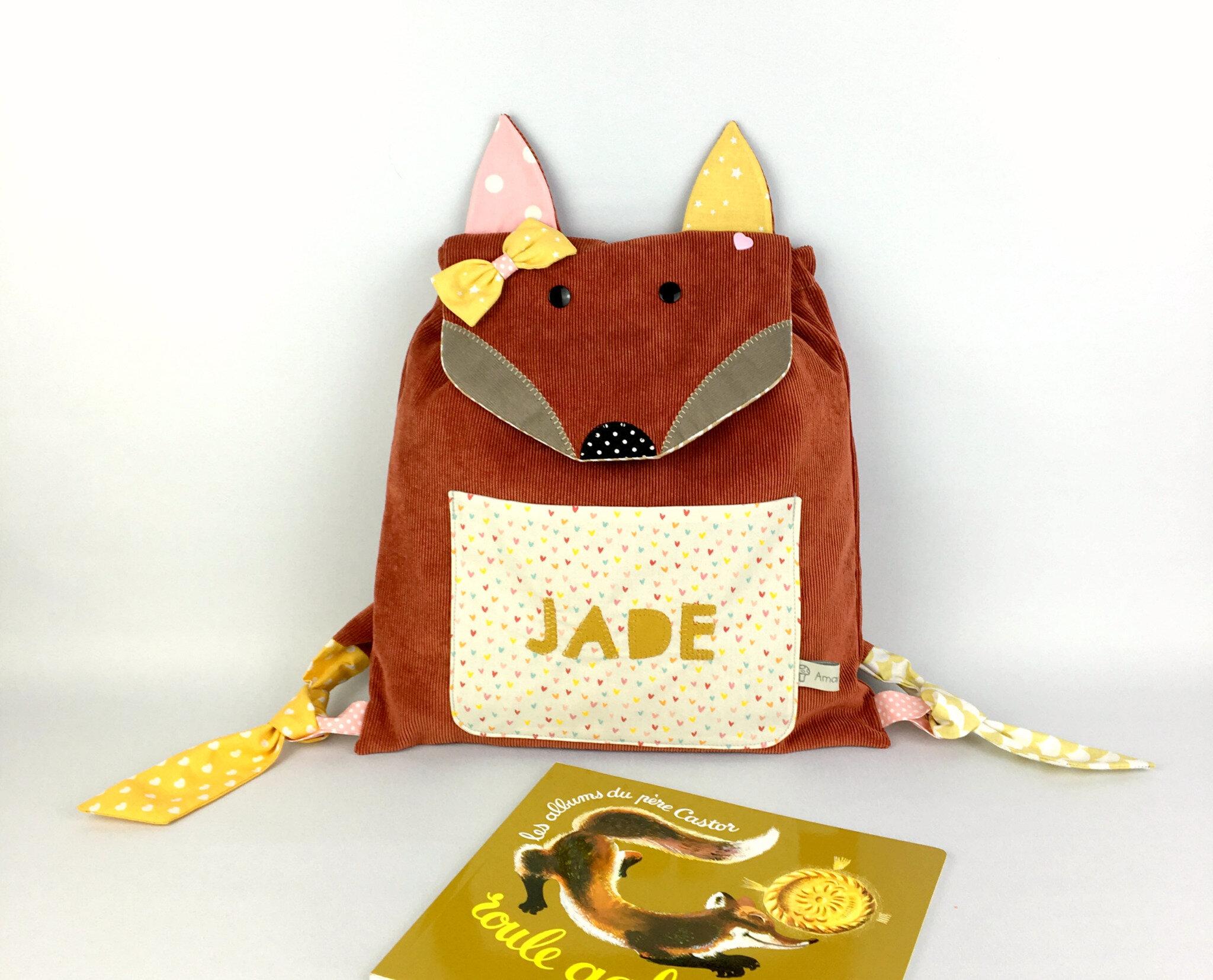 Sac à dos renard fille entièrement personnalisable couleurs tissus prénom Jade jaune moutarde rose poudre cartable maternelle sac à dos bébé crèche cadeau naissance original personnalisable