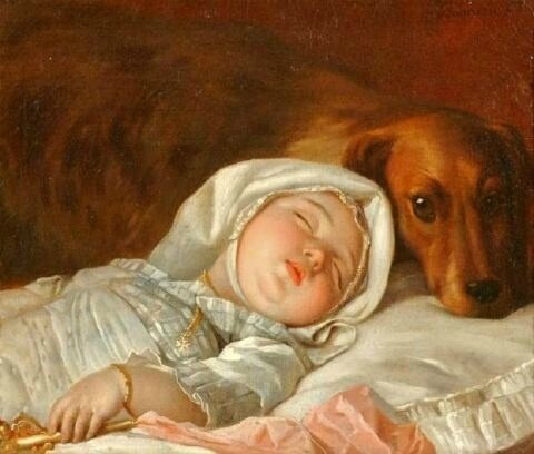 Michel Honore Bounieu Sleeping Child Guarded by Dog
