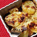 Gratin de panais et de pommes de terre au jambon cru fumé