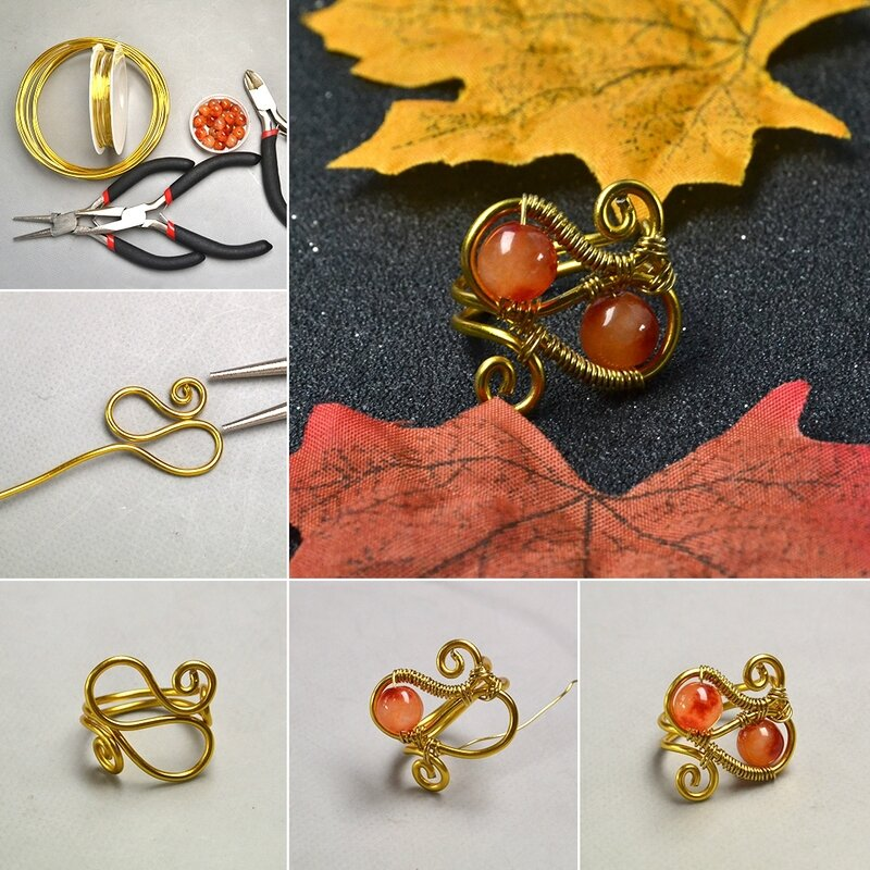 1080-How-to-Make-Orange-Jade-Bead-Wire-Wrapped-Ring