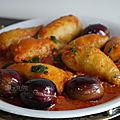 Calamars farcis a la sauce / tomates fraîches et olives violettes