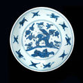 A blue and white dish, jiajing six-character mark and of the period