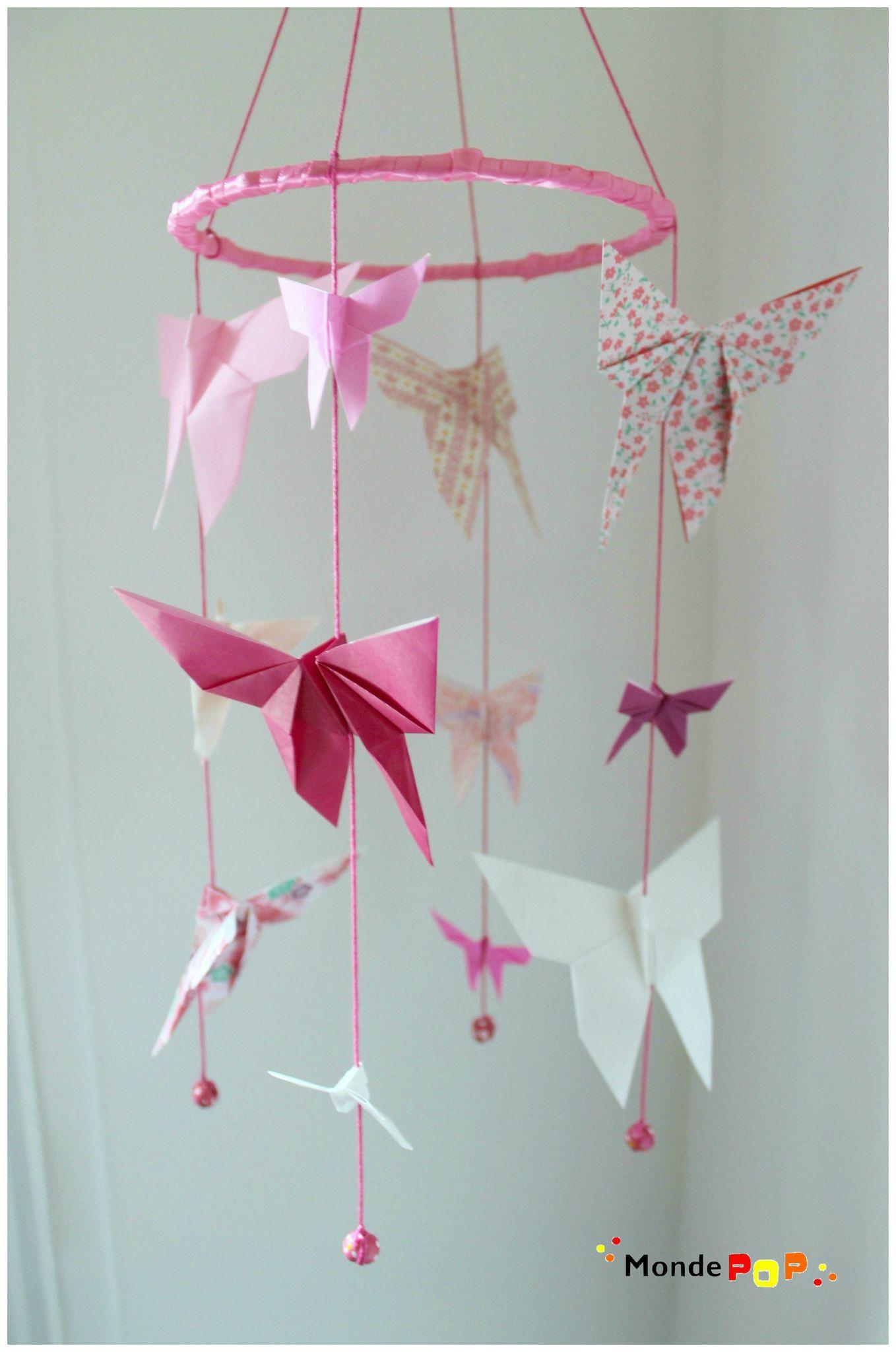 mobile papillons rose prune et blanc monde pop. Black Bedroom Furniture Sets. Home Design Ideas