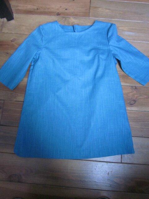 Tunique LEONTINE en lin bleu lagon et dos de coton bleu à pois - Taille 42 (2)