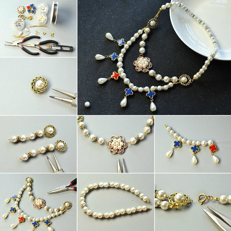 1080-Pearl-Necklace-Design-–-How-to-Make-a-2-Strand-Flower-Pearl-Bead-Necklace