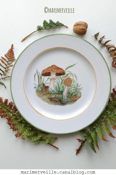 Assiette agaric des bois - marimerveille