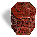 A carved cinnabar lacquer tiered box and cover, ming dynasty, 16th century