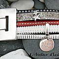 Fête des mères : bracelet manchette cuirs rouge, noir, gris et passant étoiles et médaille gravée je t'aime maman
