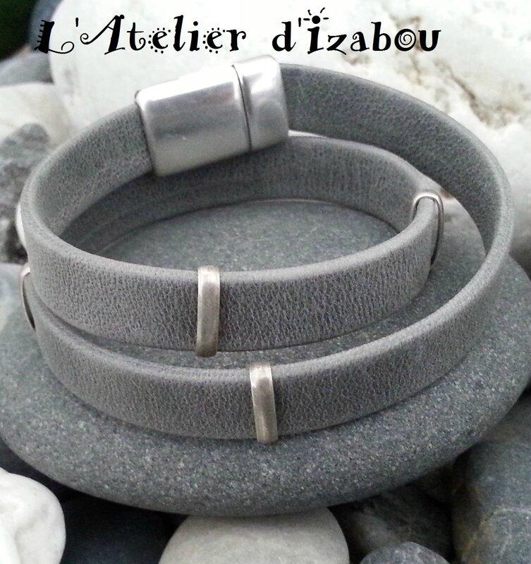 P1130328 Bracelet homme cuir gris vieilli et passants métal argenté vieilli, fermoir aimanté