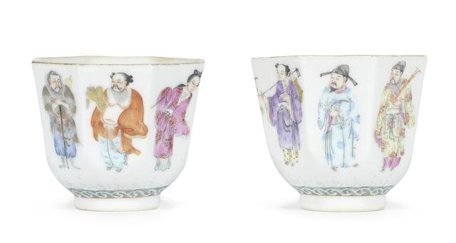 A pair of famille rose 'Eight Immortals' wine cups, Iron-red Daoguang seal marks and of the period (1821-1850)