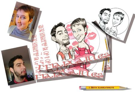 carte invitation fiancailles caricature