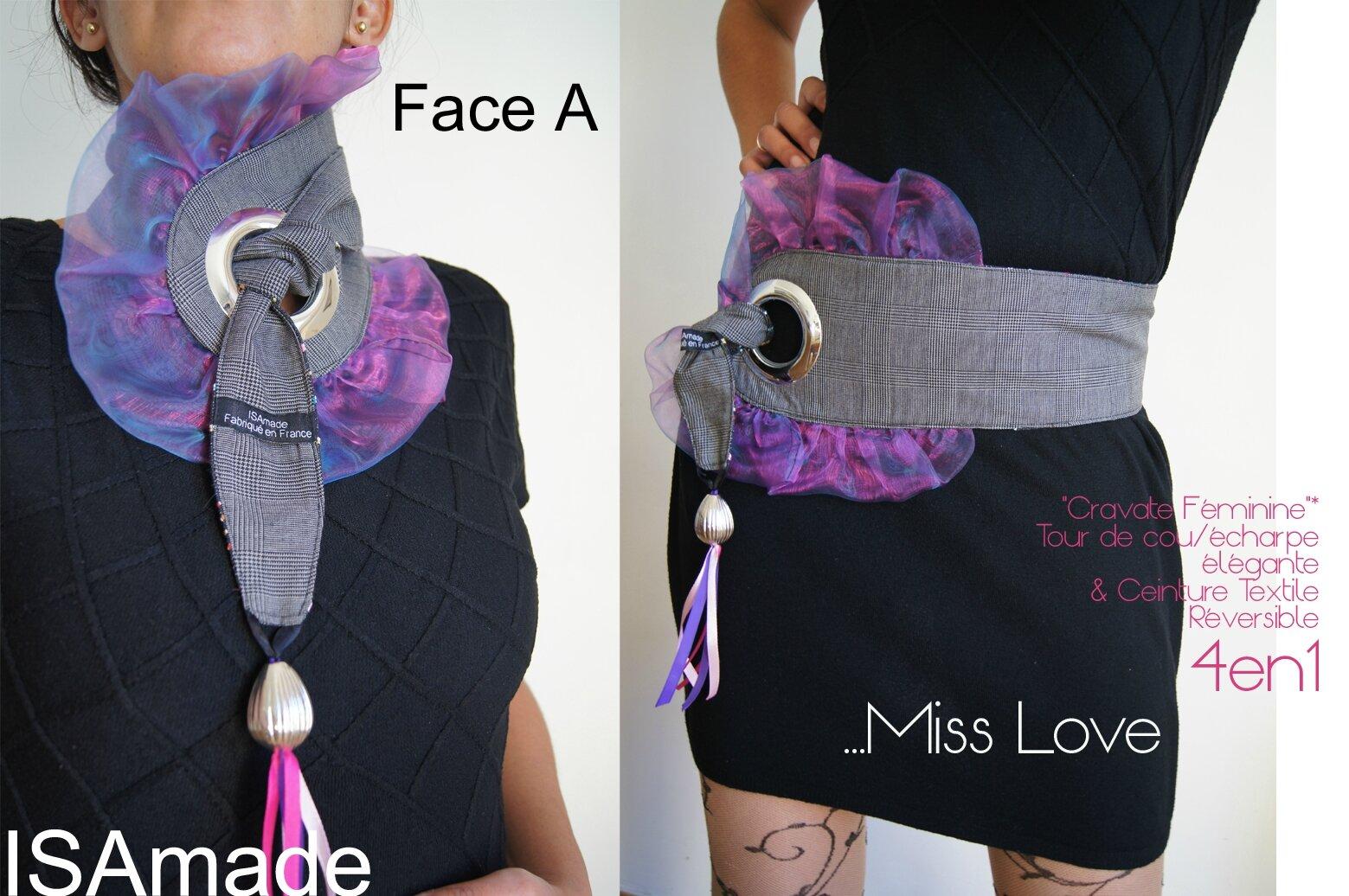 Cravate ceinture transformable et réversible