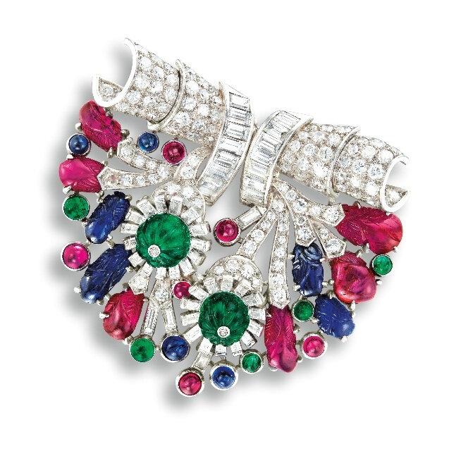 A Unique Art Deco Gem-set and Diamond 'Tutti Frutti' Double Clip Brooch, Henri Picq for Cartier Paris, Circa 1925