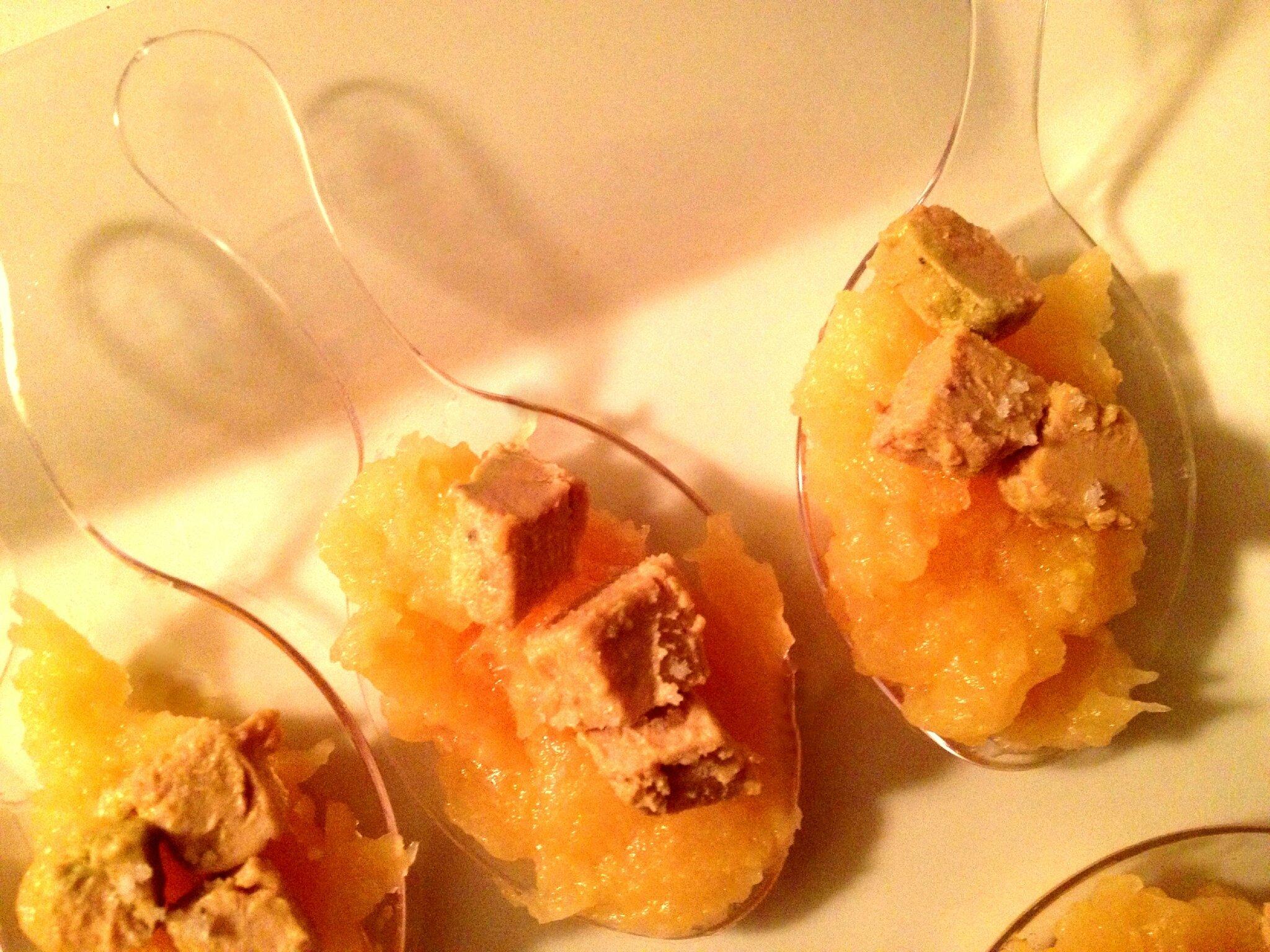 Cuillère apéritives: foie gras sur sa purée de coings