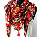 chèche tons prune bordeaux orange blanc motifs geom pw