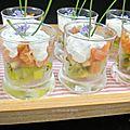 Verrines au saumon fumé et au kiwi