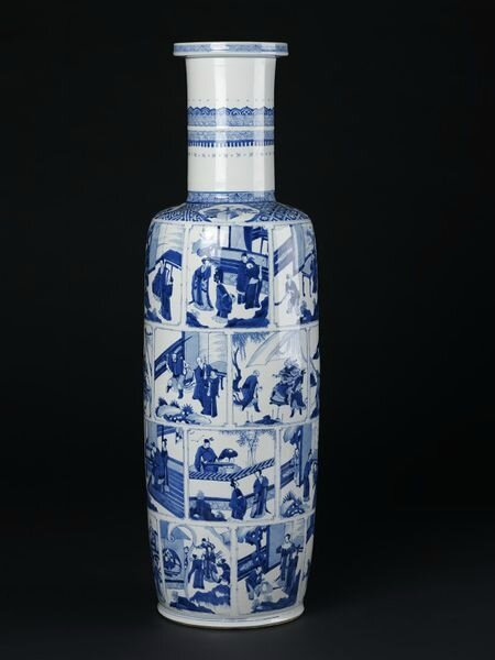 A large blue and white rouleau vase with scenes from Xi Xiang Ji, Qing dynasty, Kangxi period, 1690-1700