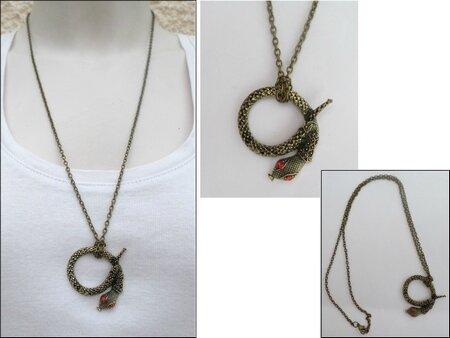 Pendentif Style Vintage Serpent Strass Rouge Métal Couleur Bronze