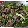 Veau cuisine a la creme de moutarde, asperges vertes et champignons