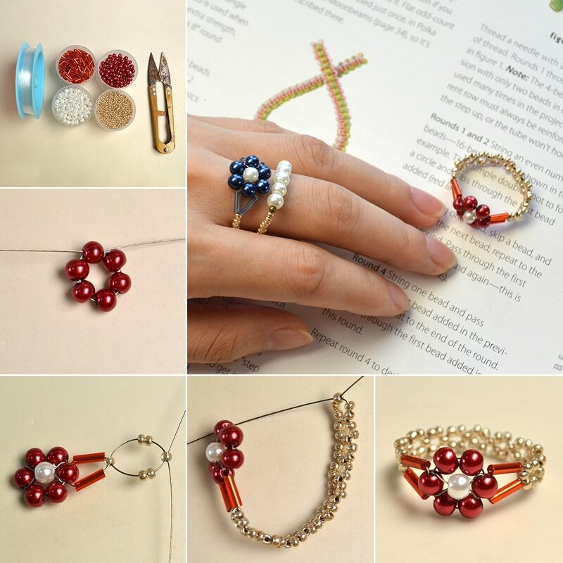 1080-PandaHall-Tutorial-on-How-to-Make-Simple-Beaded-Flower-Rings-with-Seed-Beads-and-Pearl-Beads