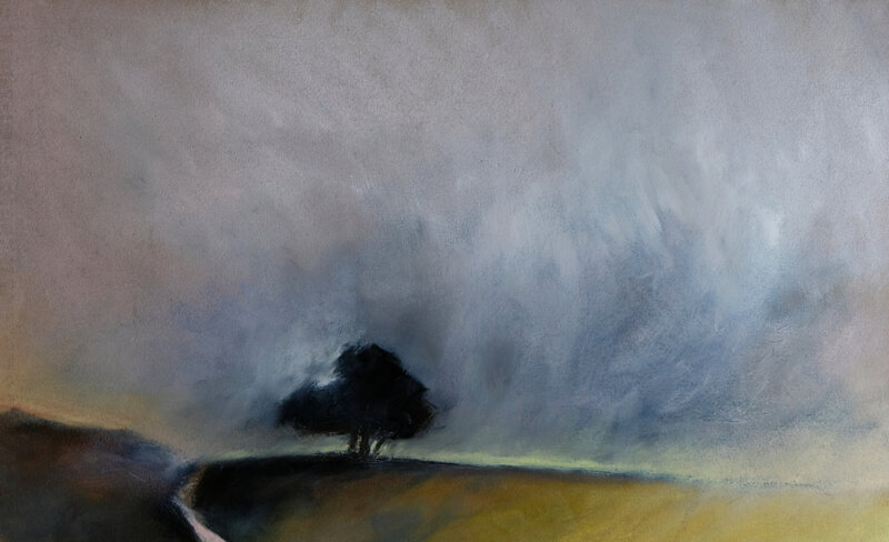 lonely tree in the fog, pastel à l'huile, 48 x 32 cm, juin 2019
